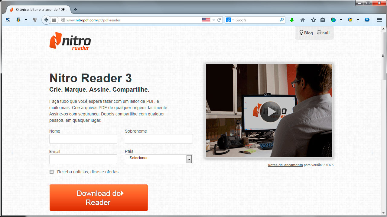 Tela01 - Site do Nitro Reader